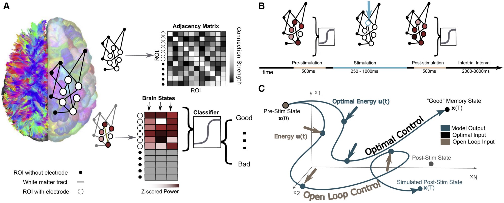 A complicated diagram from the researcher's paper that shows how electrical stimulation effects networks of brain regions.