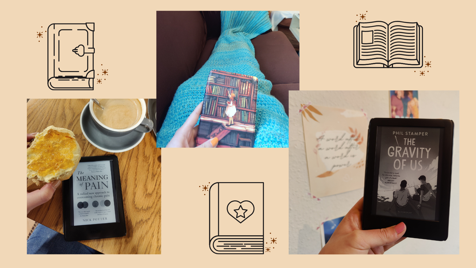 Photo collage showing a Kindle e-reader held, or on a table next to a cup of coffee, on a yellow background with small book doodles scattered around.