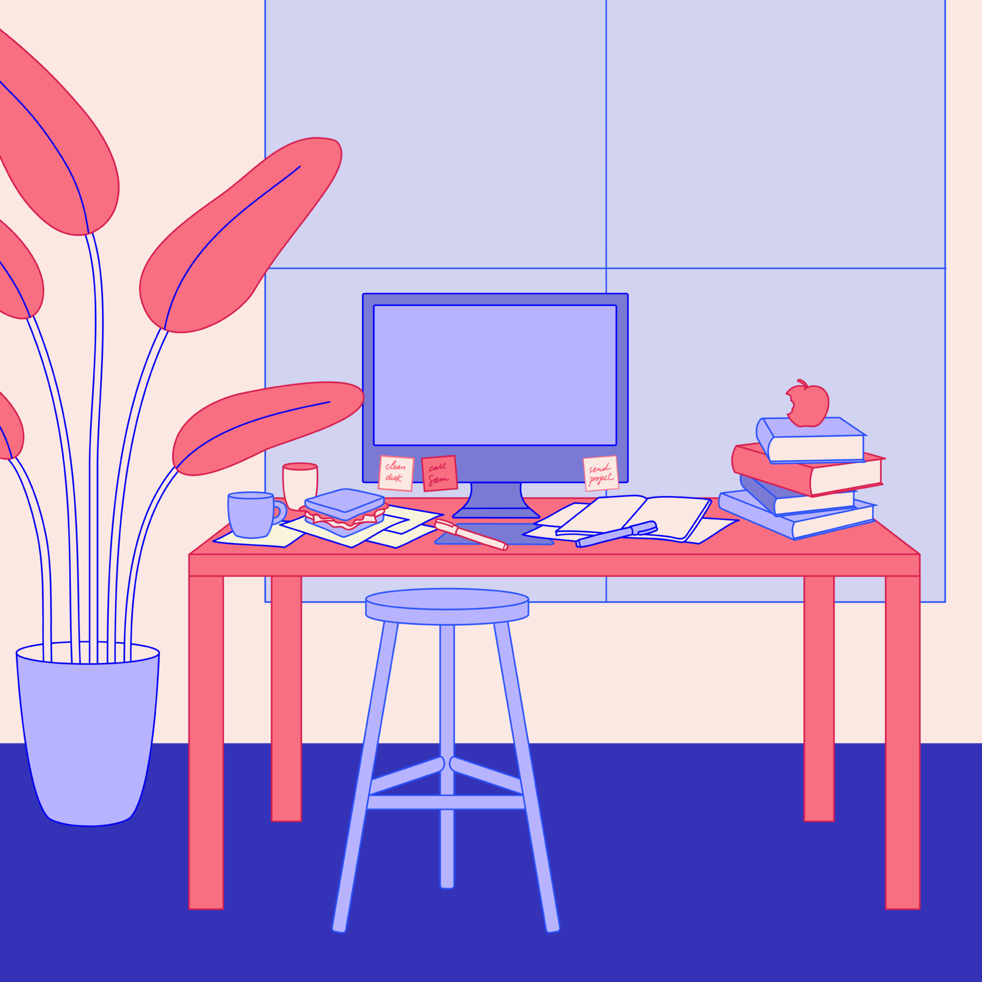Work desk with a computer, books, coffee and snacks, by Kika Fuenzalida