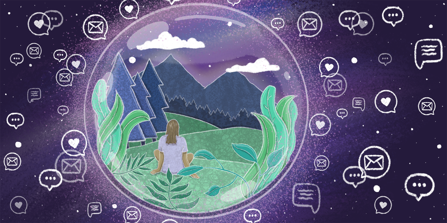 A bubble in space, containing a person sitting in a field by mountains, surrounded by mail/heart notification icons.
