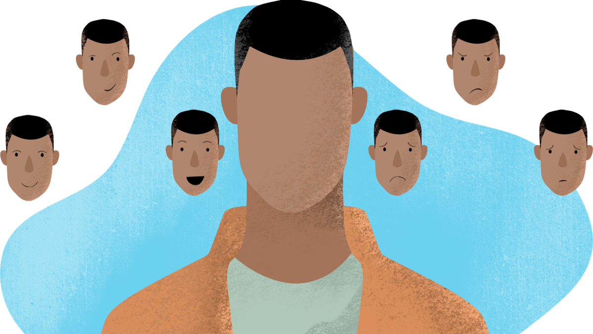 Man with many faces. Expressing all the emotions.