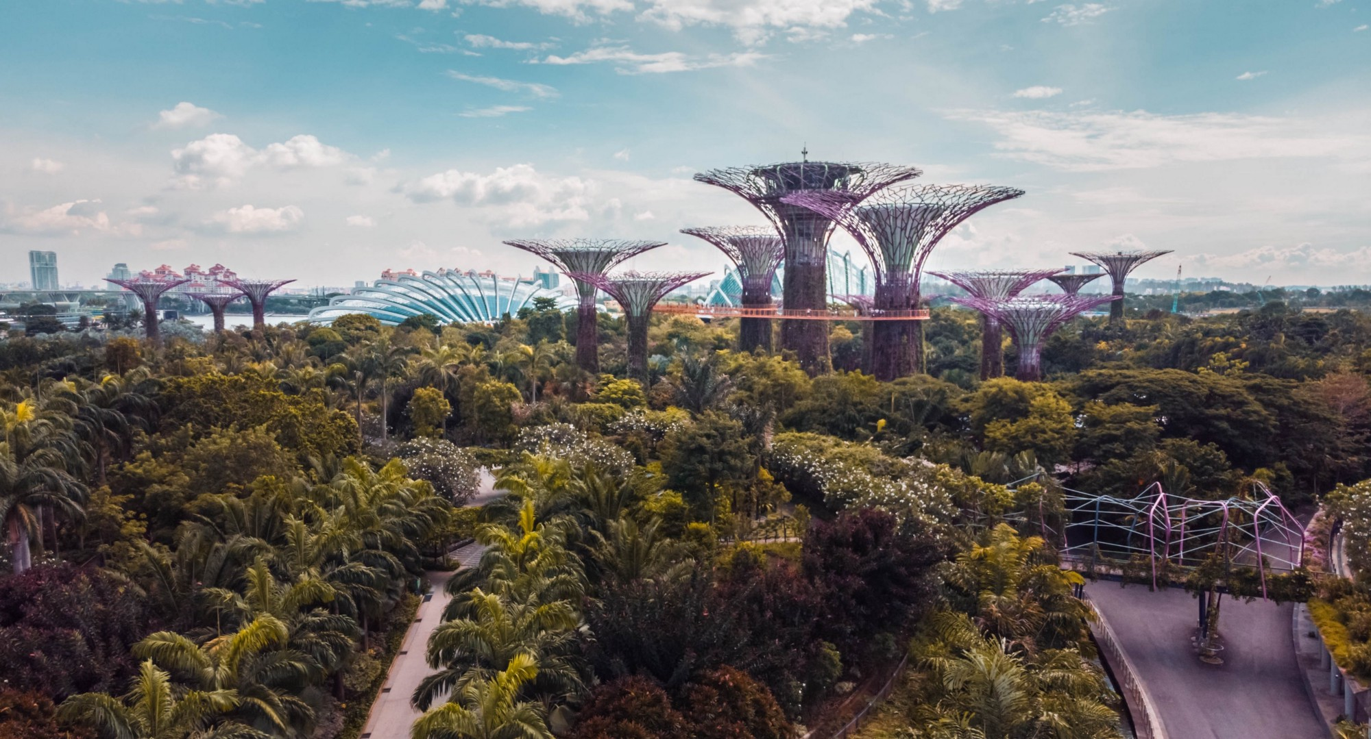 Marina Bay Park in Singapore, a green and futuristic environment.