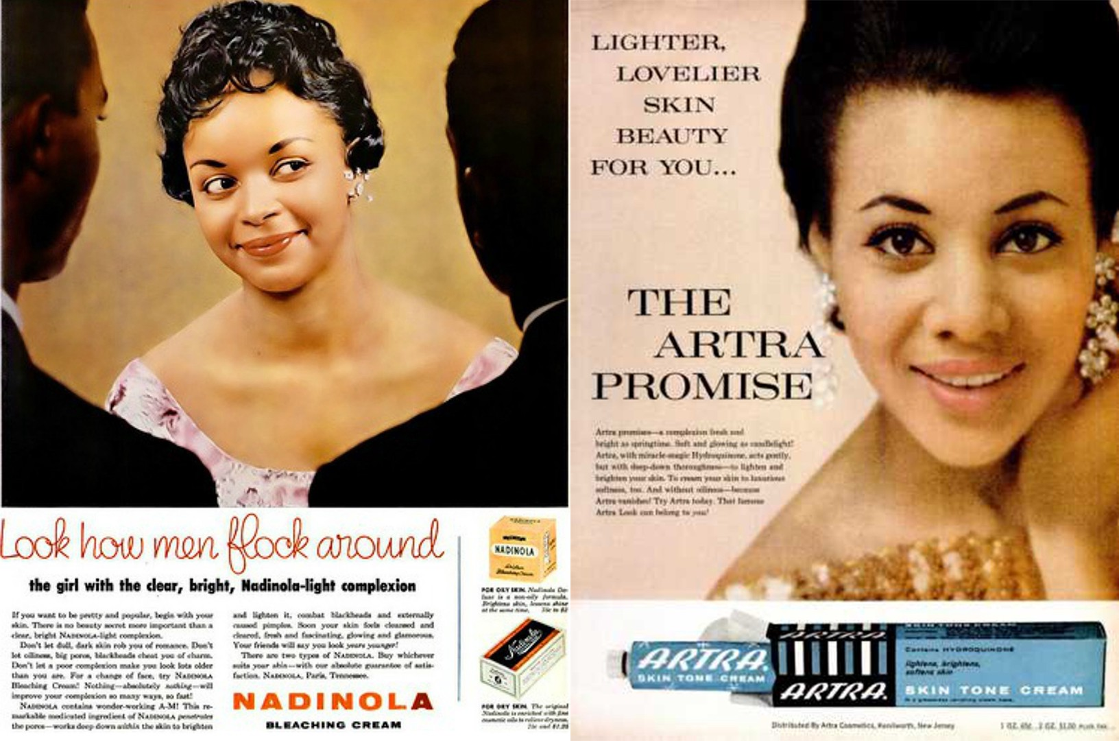 (Left) Image of a vintage advert for Nadinola Bleaching Cream, (Right) Artra skin tone cream advert in Ebony magazine 1963.