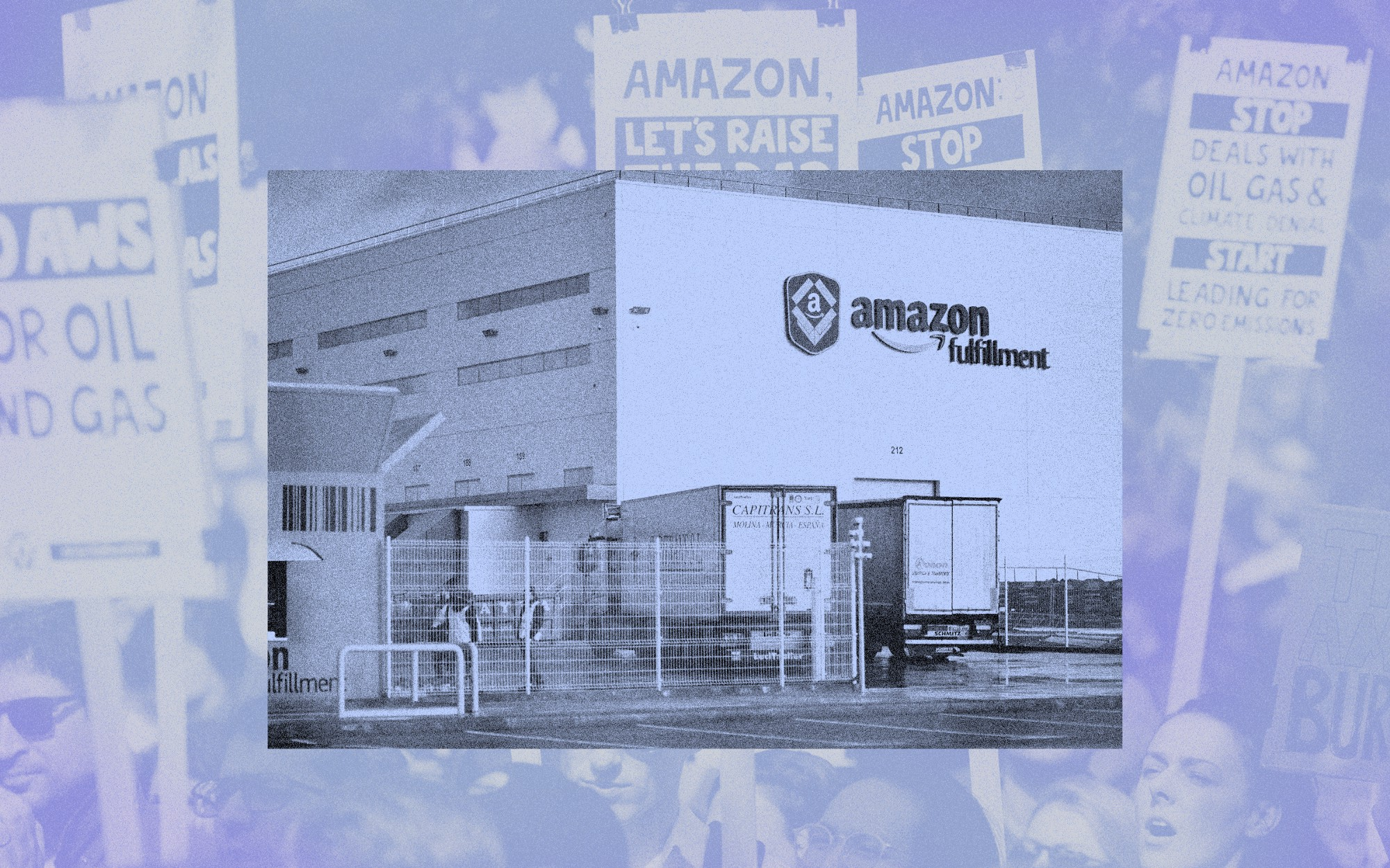 A treated photo collage of an Amazon warehouse facility juxtaposed on top of an Amazon workers protest.