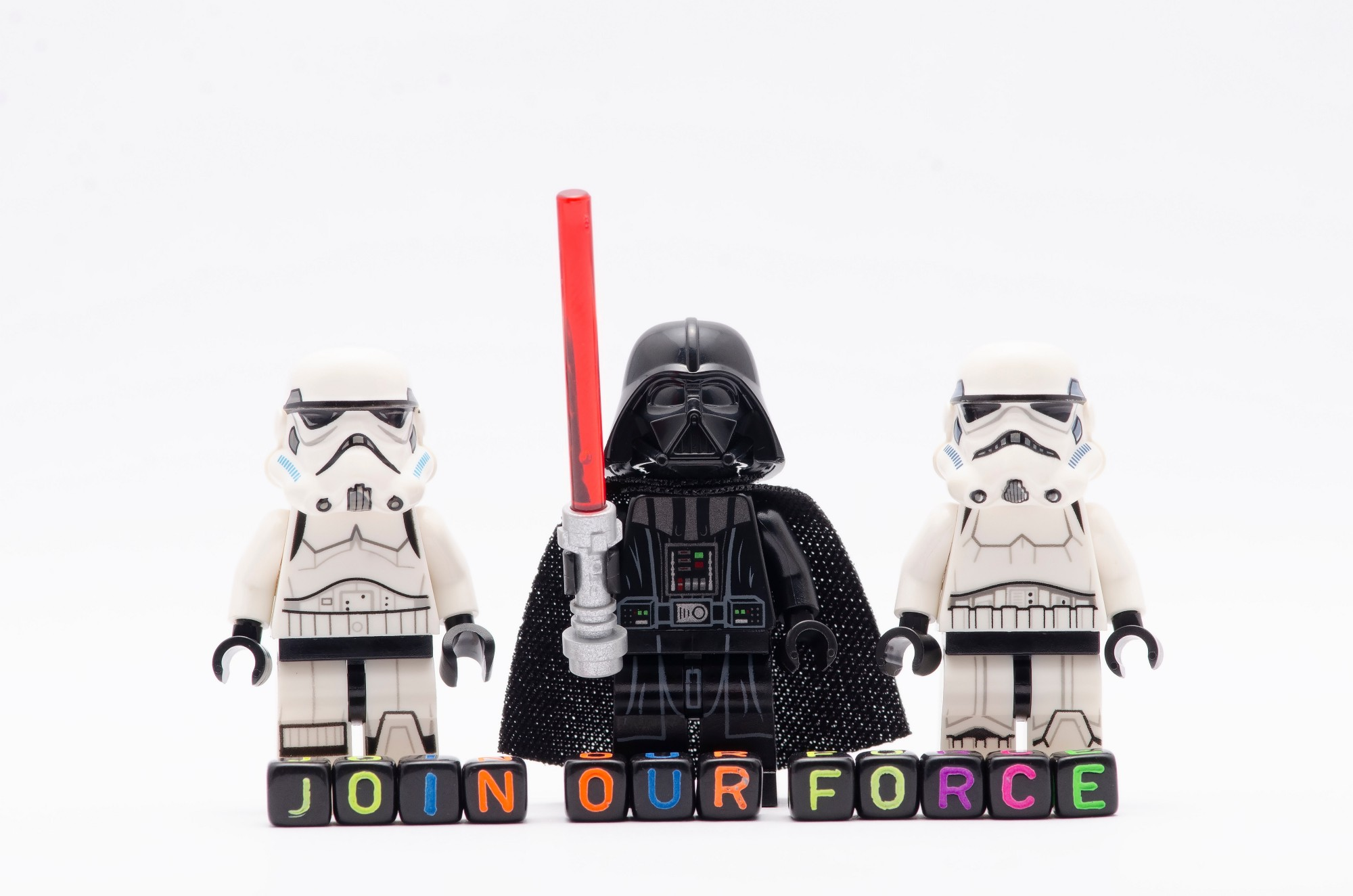 Lego star wars figurines with the description 'Join the force'
