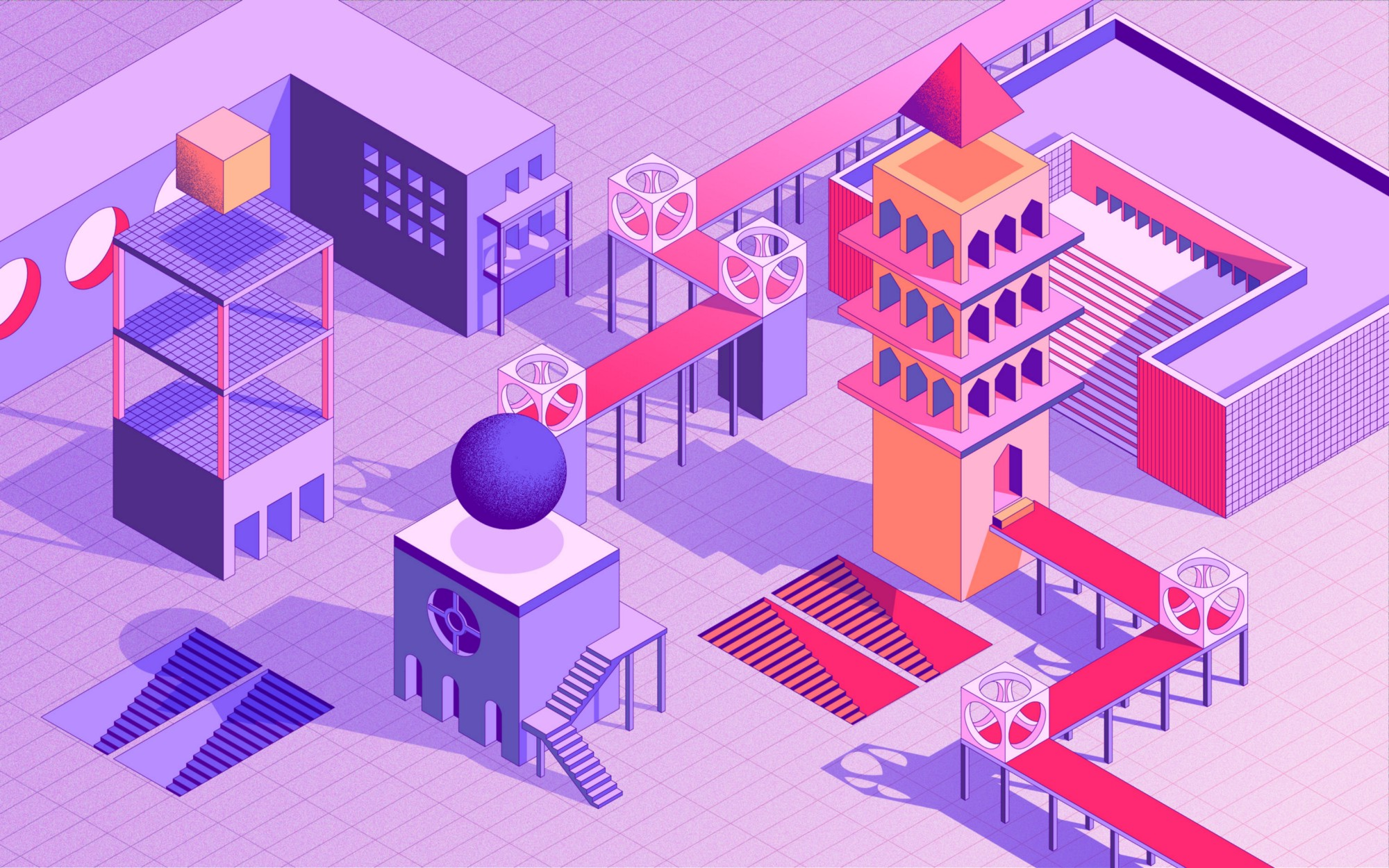 Isometric illustration of an abstract architectural space