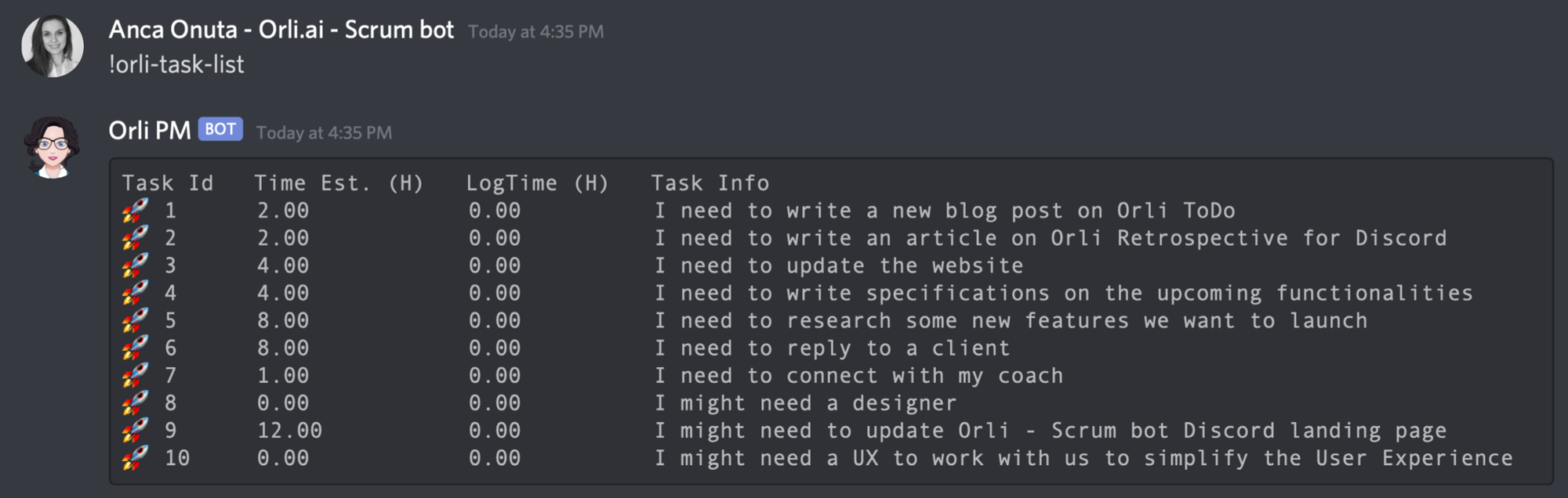 ToDo bot for Discord — Orli Task — ToDo List, follow ups, time tracking.