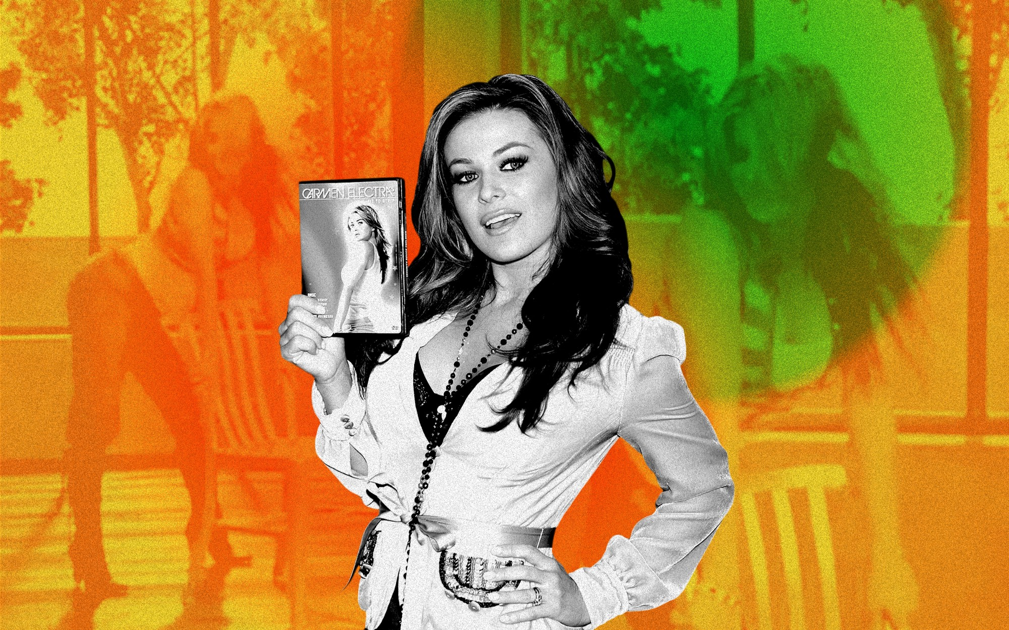Carmen Electra holding her workout dvd cover against filtered images of her mid-workout.