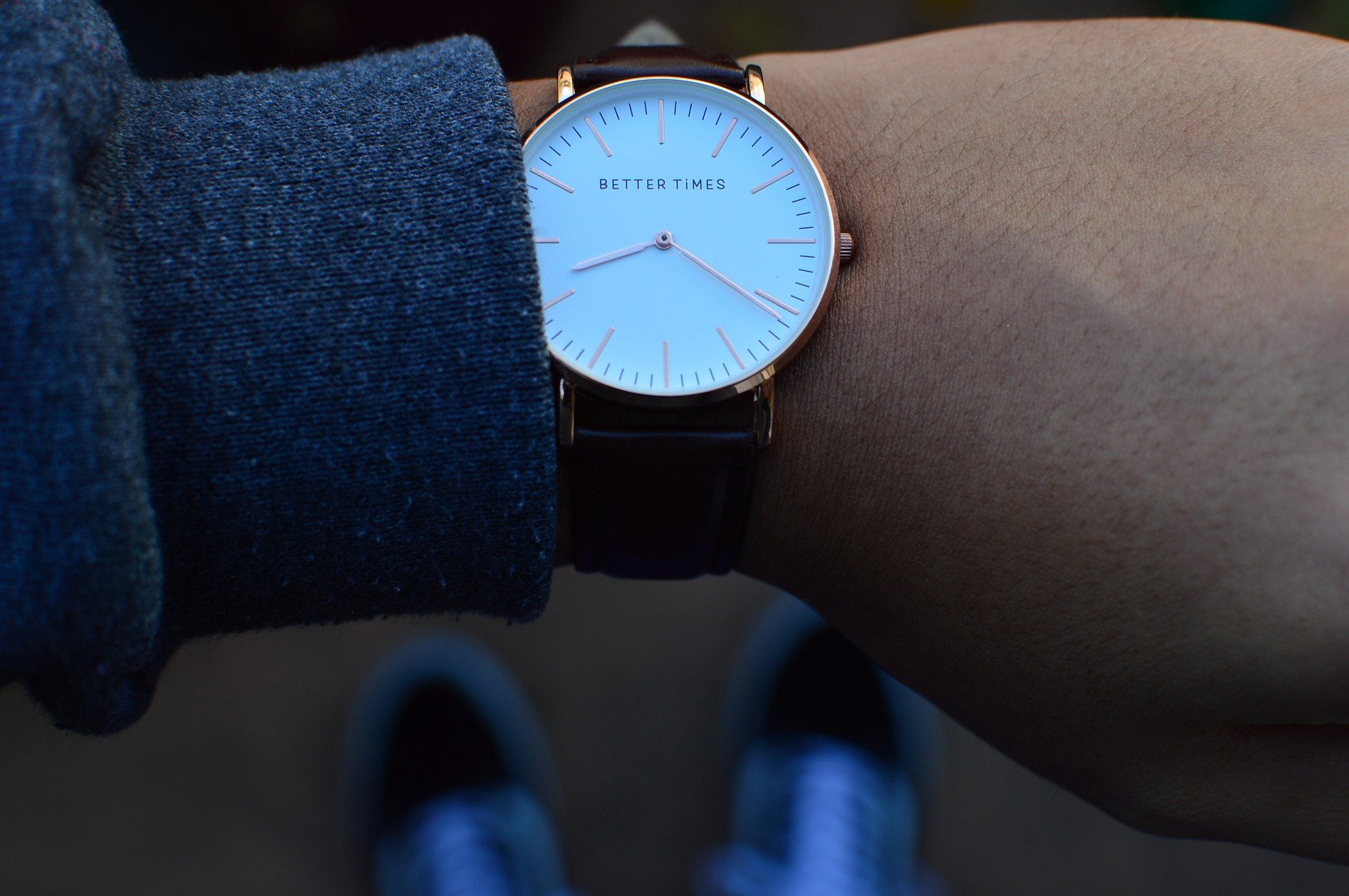 Person looking at a wristwatch