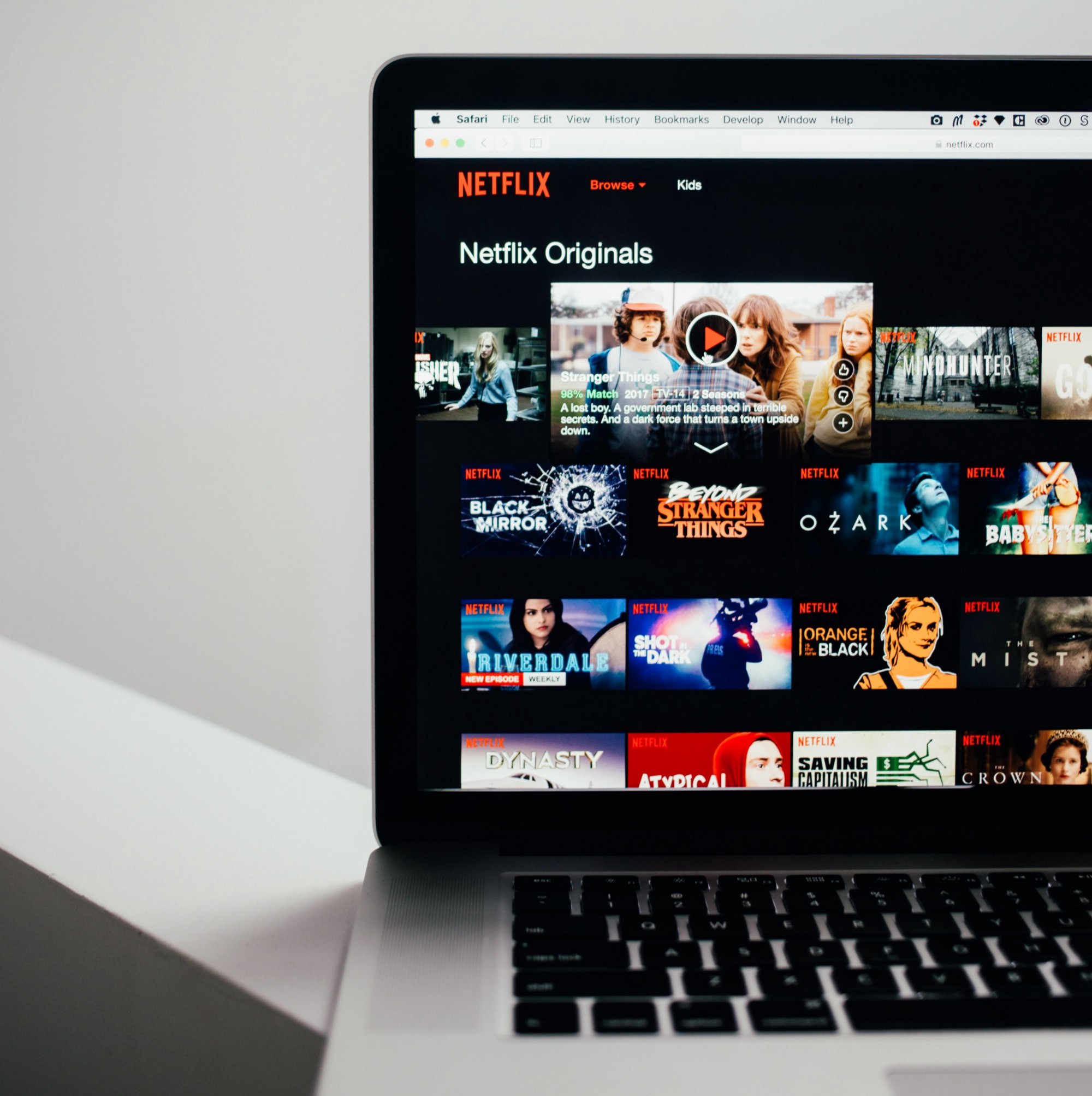 Netflix web is opened on laptop browser.