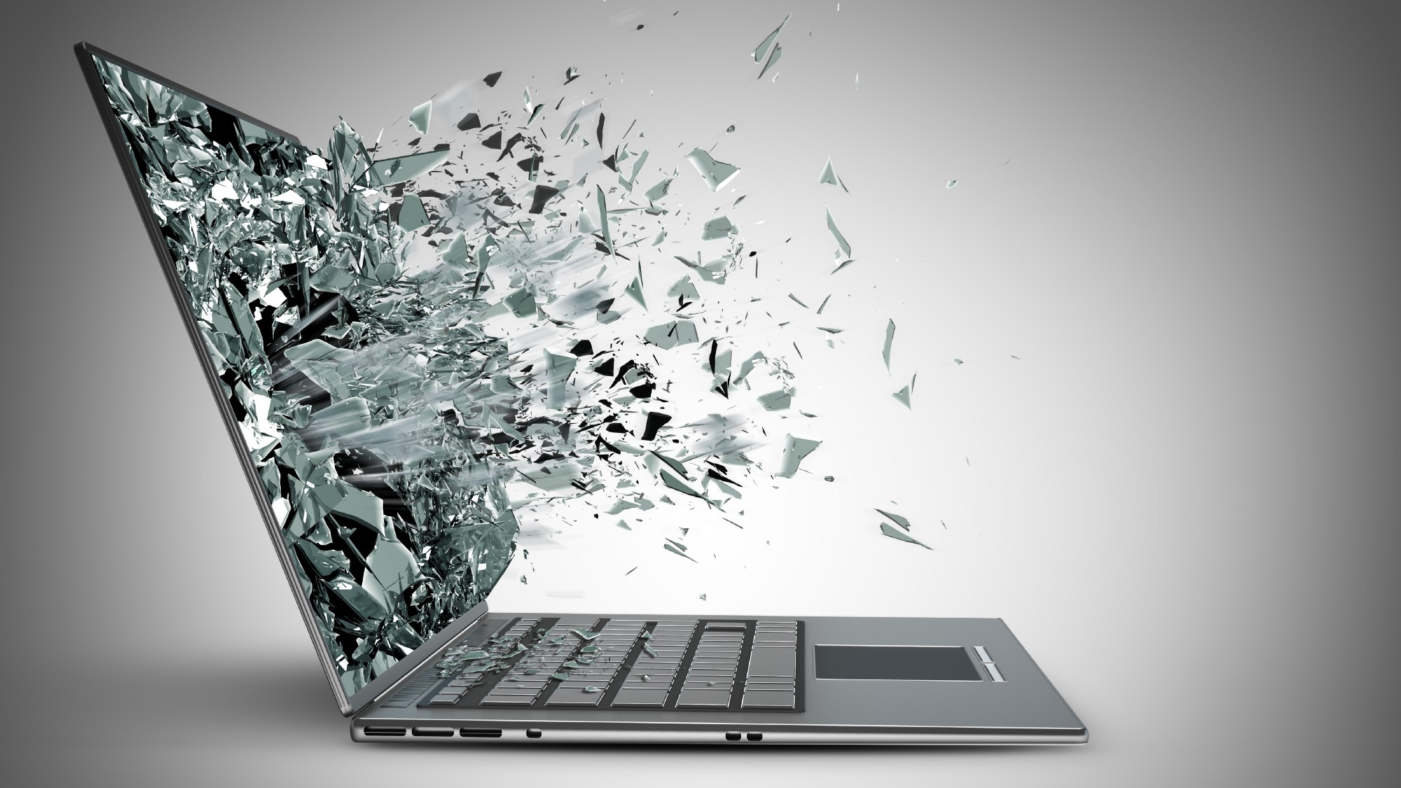 Photo of a laptop screen exploding