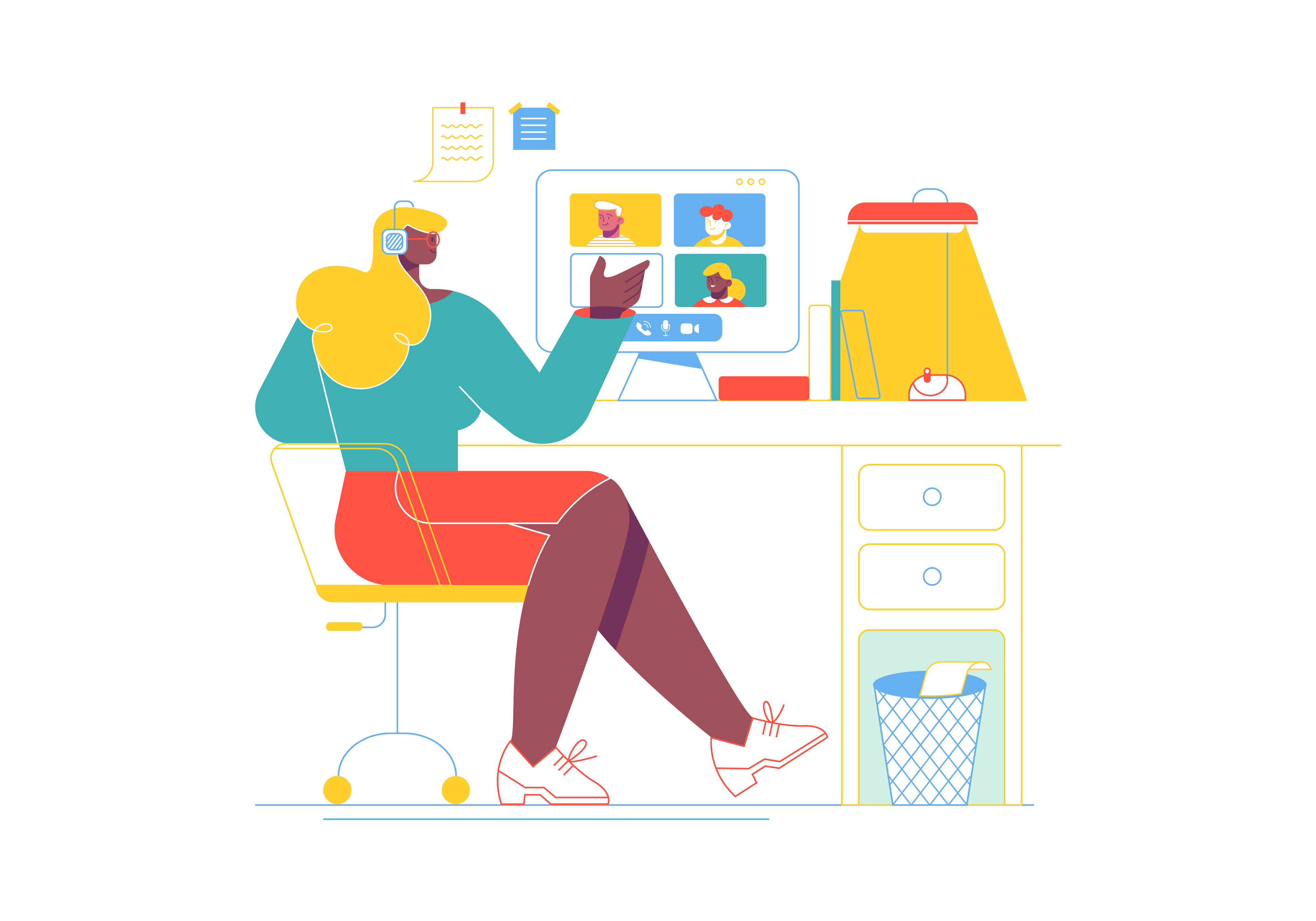 A colorful illustration of an individual sitting at a desk talking to peers on a video call.