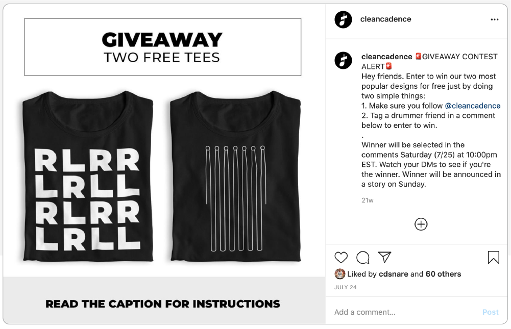 Example of a giveaway contest as an Instagram post for Clean Cadence.
