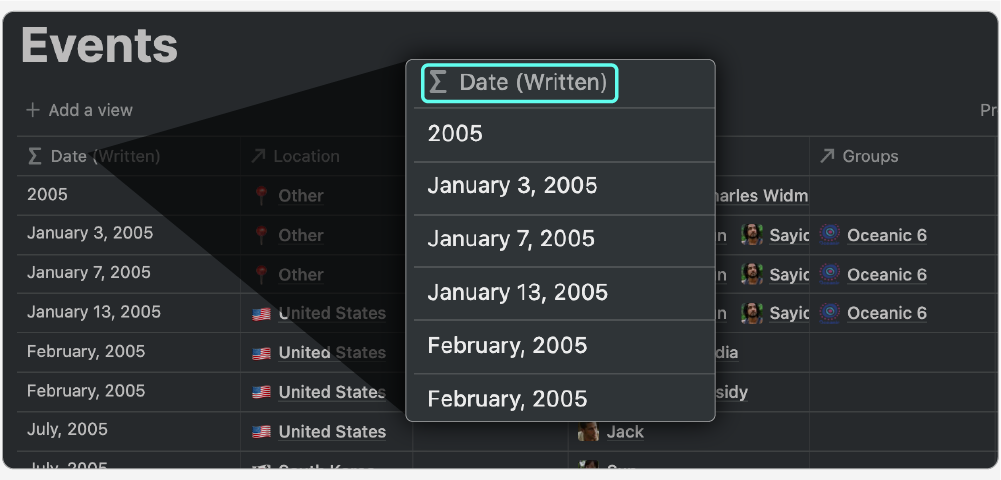 The function property used in the Events database in Notion