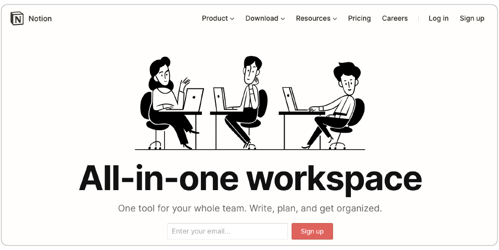 Notion is an all-in-one workspace tool for teams or individuals.