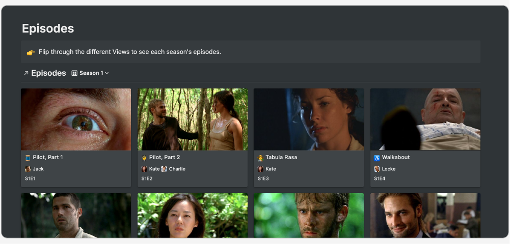 Gallery view of the Episodes database.