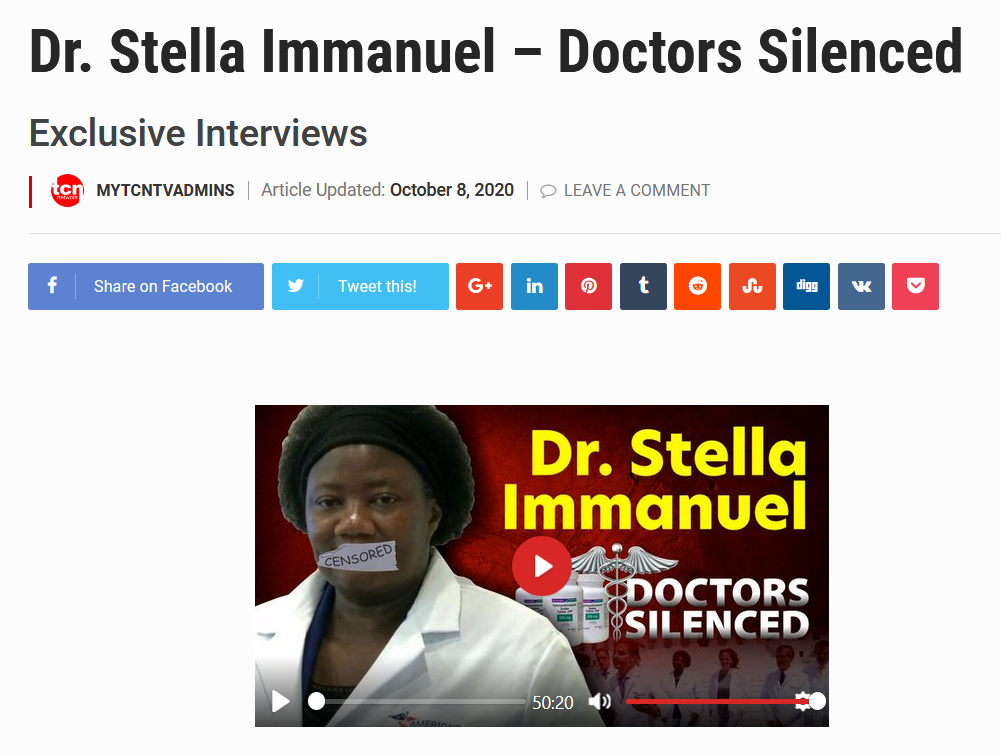 """""""Dr. Stella Immanuel—Doctors Silenced"""" Exclusive Interviews by MYTCNTVADMINS on October 8, 2020"""