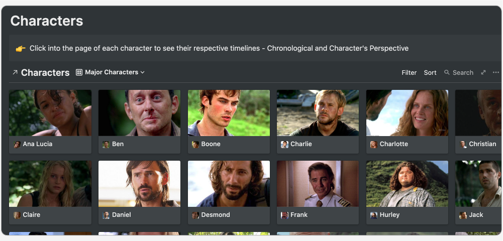 A gallery view of the Characters database in Notion.