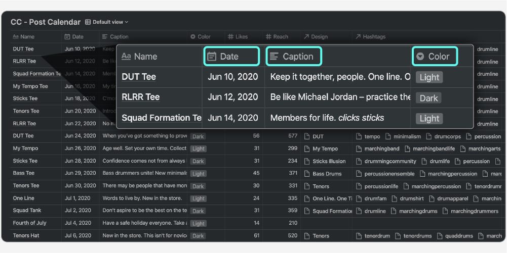 Post calendar database in a table view in Notion