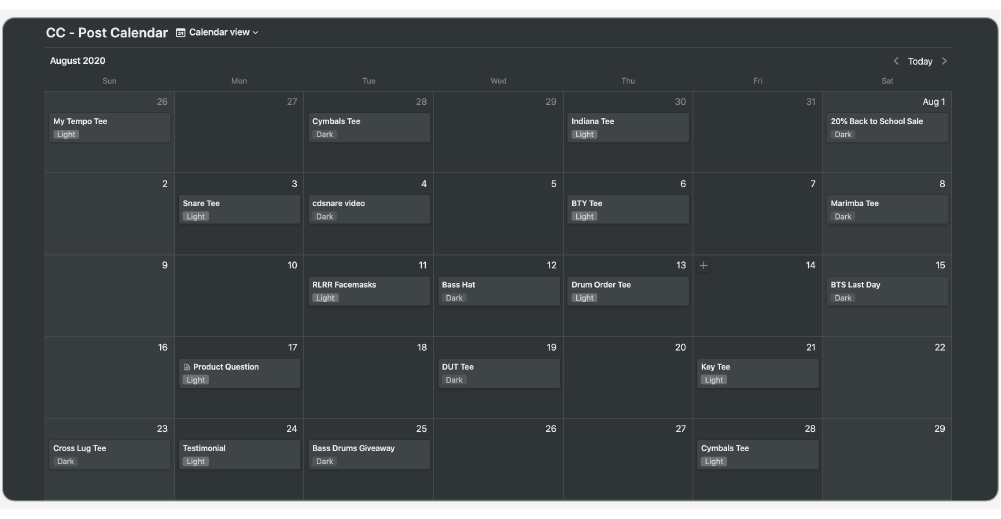Post Calendar database in a calendar view in Notion