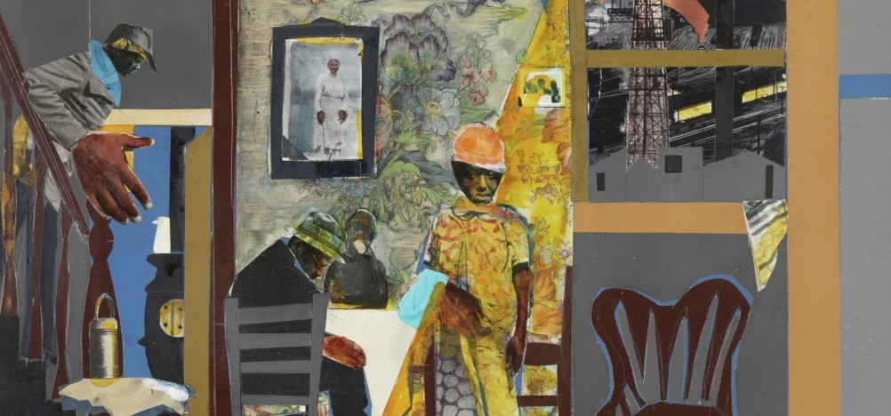 A collage work by Romare Bearden featuring a man walking down stairs leading into a room with people seated at a table.