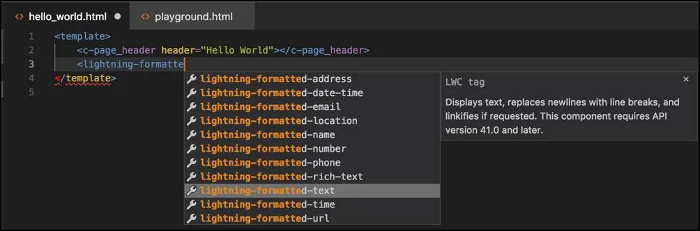 Screenshot showing LWC syntax autocomplete in VS Code.