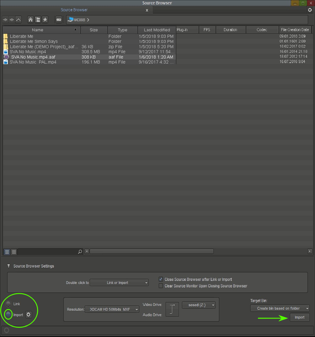 Avid Media Composer: export from Simon Says and import