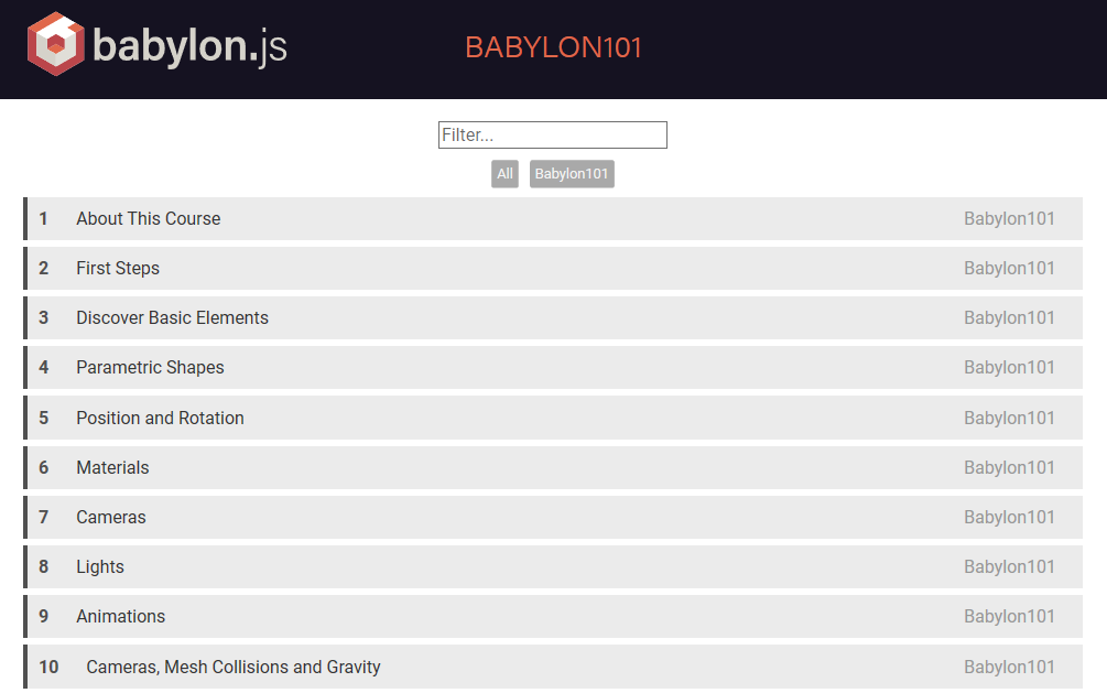 Babylon.js 101 tutorials