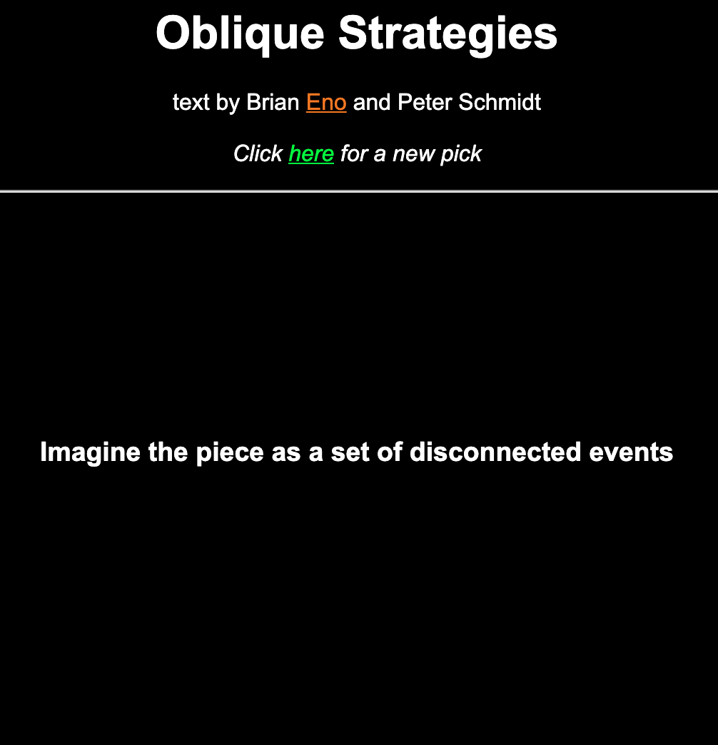 Oblique Strategy: disconnected events