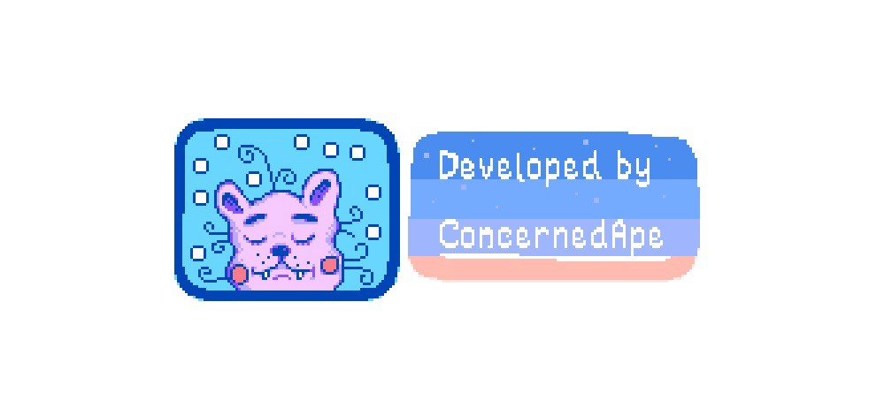 "A small purple cat-like creature in a blue frame, beside the words ""Developed by ConcernedApe."""