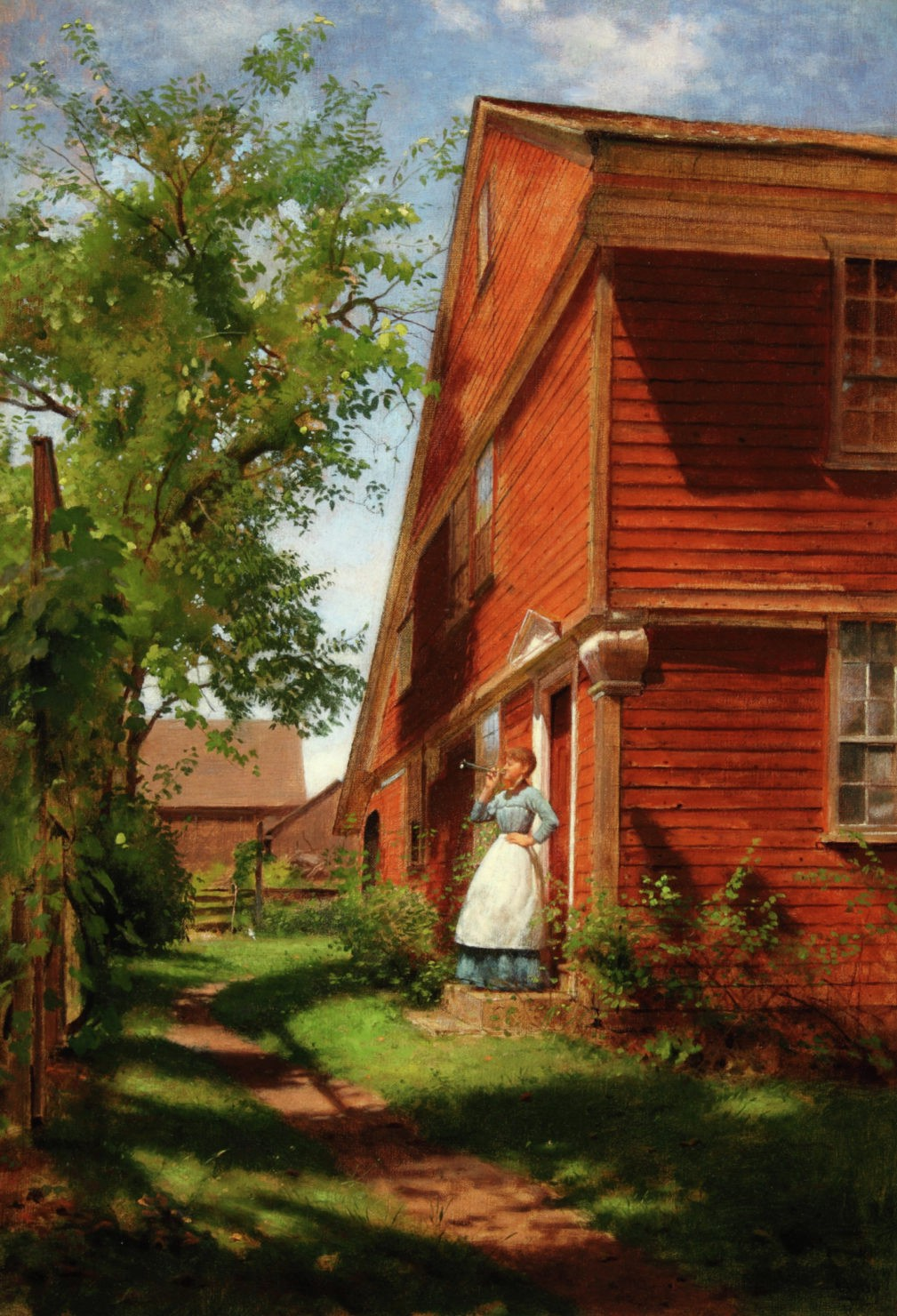 A woman in an apron stands with one hand on her hip and the other blowing a small horn as she stands by her red house on a sunny day.