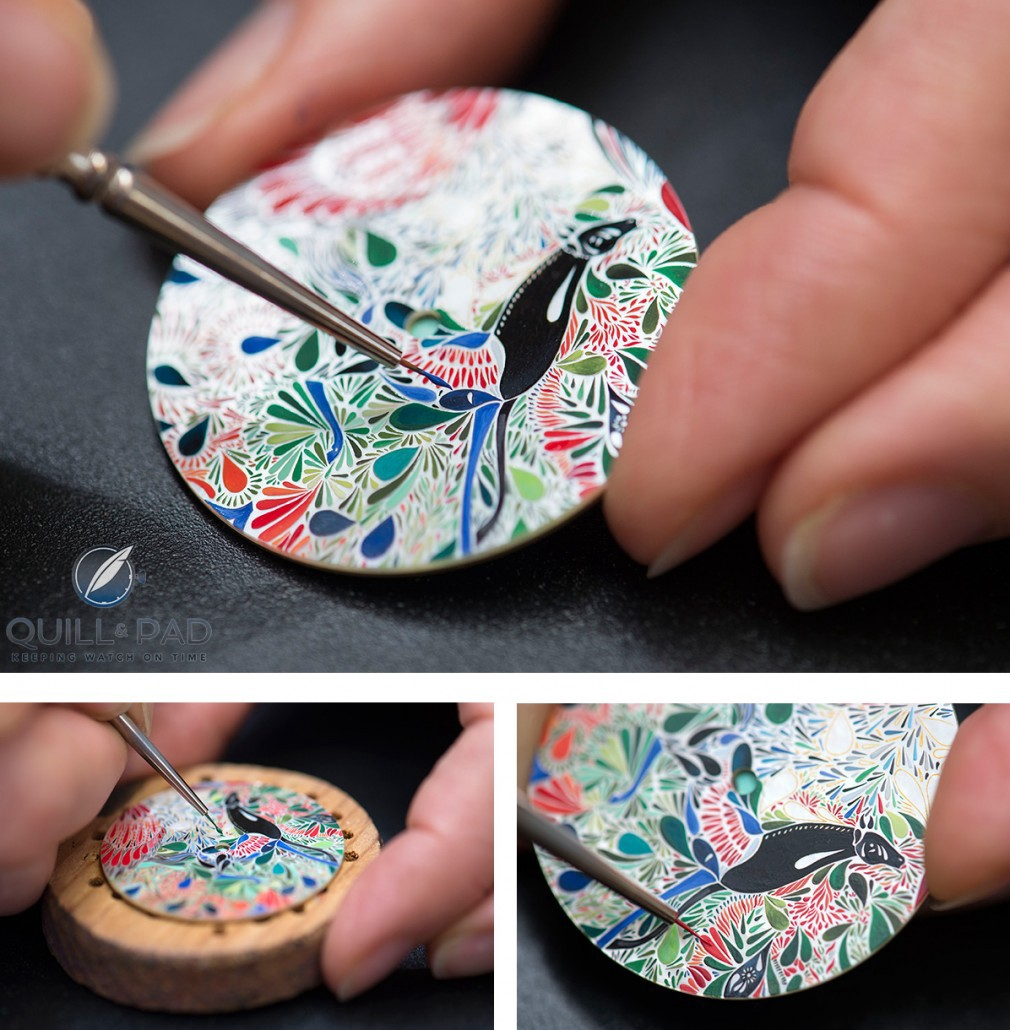 Painting the mother-of-pearl dial of the Slim d'Hermès Mille Fleurs du Mexique using a brush of just a couple of hairs