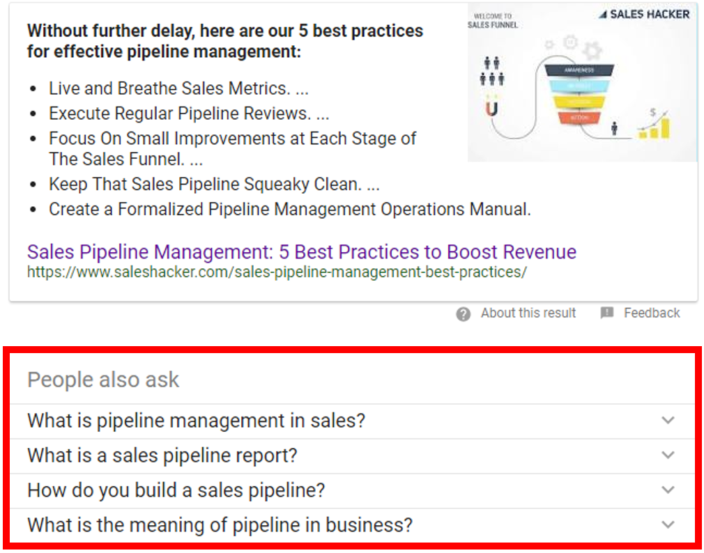 sales pipeline featured snippet