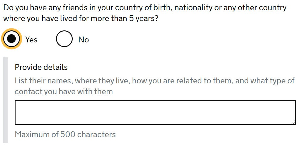 Screencap of indefinite leave to remain application form asking you to name your friends in your birth country.