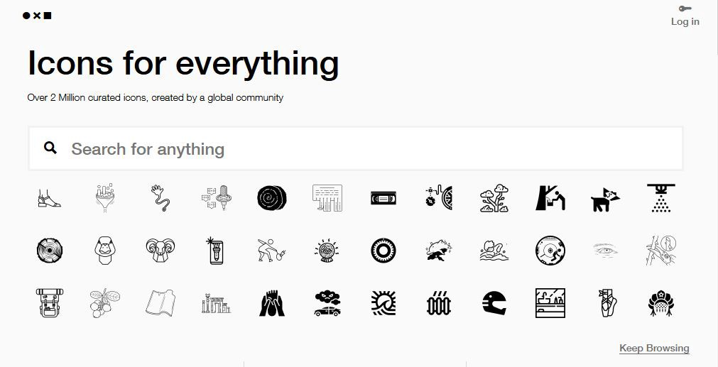 """A screen shot of The Noun Project homepage shows many black and white icons and a search bar that says """"search for anything"""""""