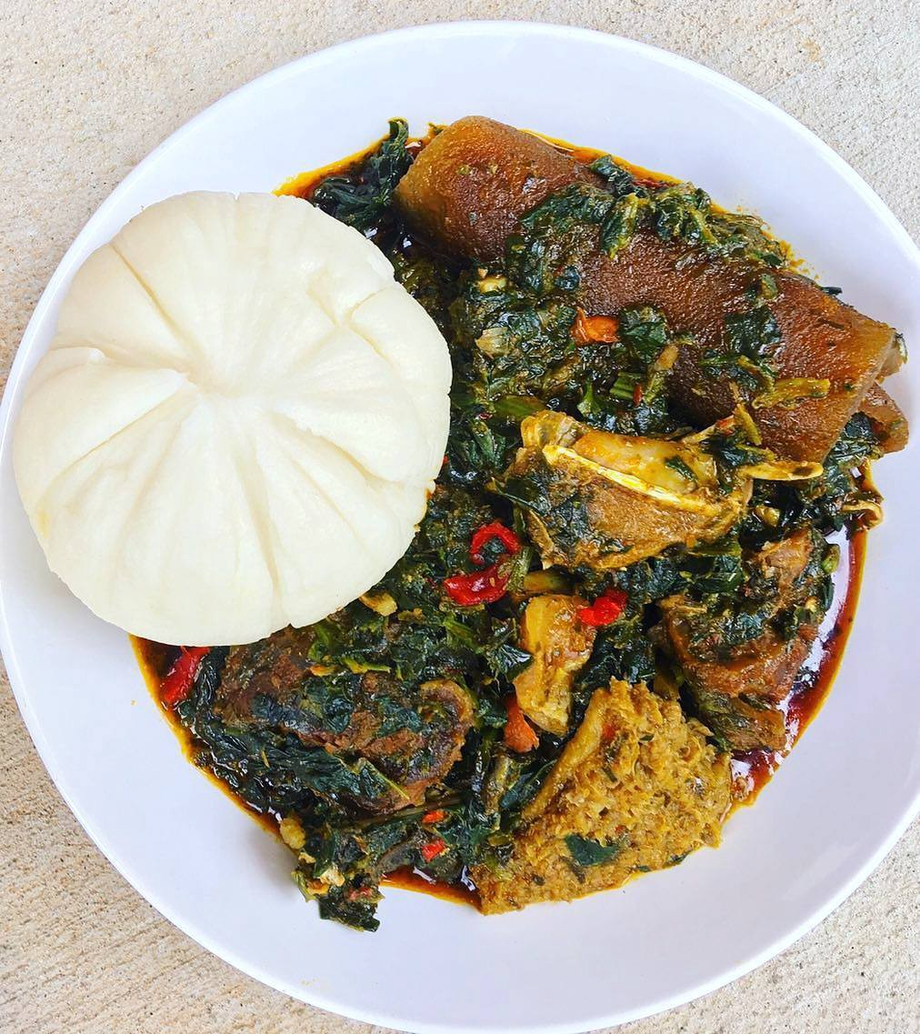 Image result for pounded yam and vegetable soup