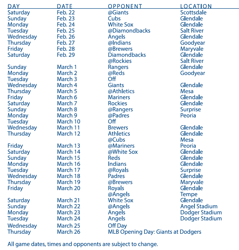 Cubs Schedule 2020 Printable.Dodgers 2020 Spring Training Schedule Announced Dodger