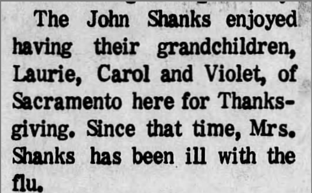 Item from the Auburn (California) Journal from December 3, 1970