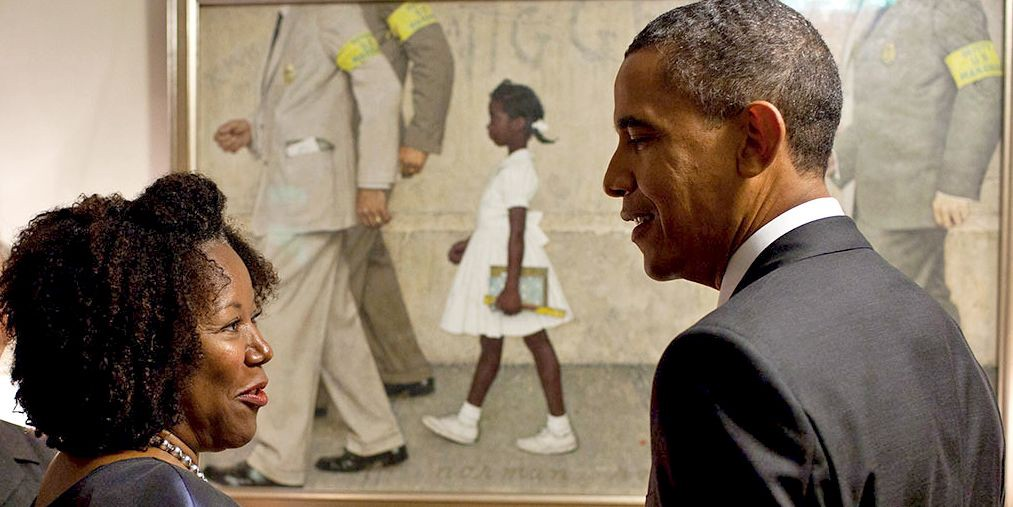 "President Obama with Ruby Bridges (2011) in front of Norman Rockwell's ""The Problem We All Live With"" (1964)"