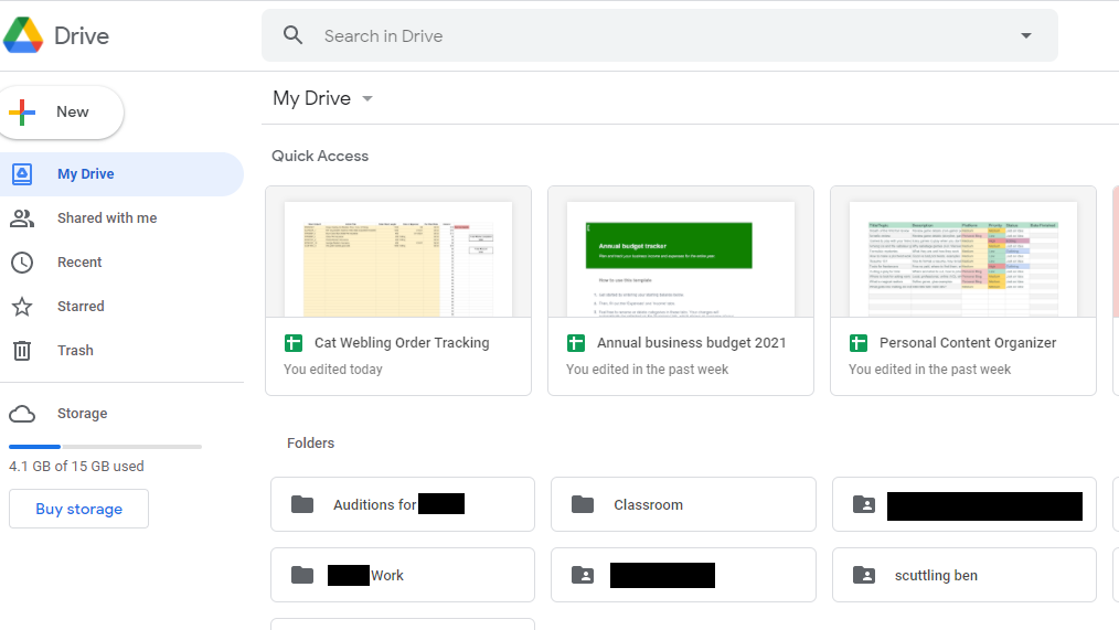 A screenshot of the Google Drive dashboard showing various folders and projects.