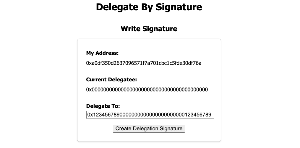 Create a Compound Governance delegate transaction using an Ethereum EIP-712 signature