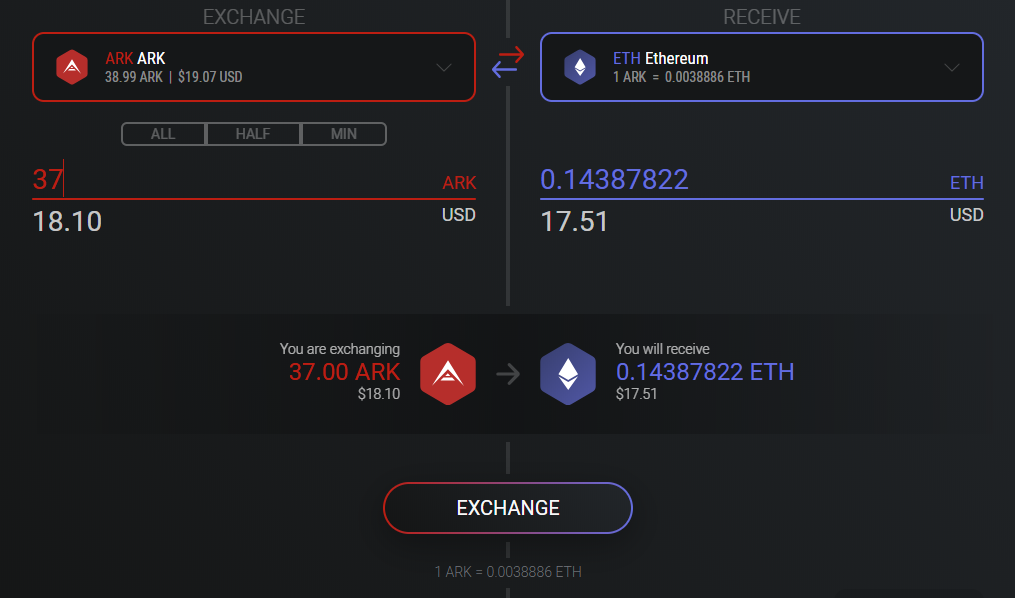 Exchanging from and to ARK can be done within Exodus wallet
