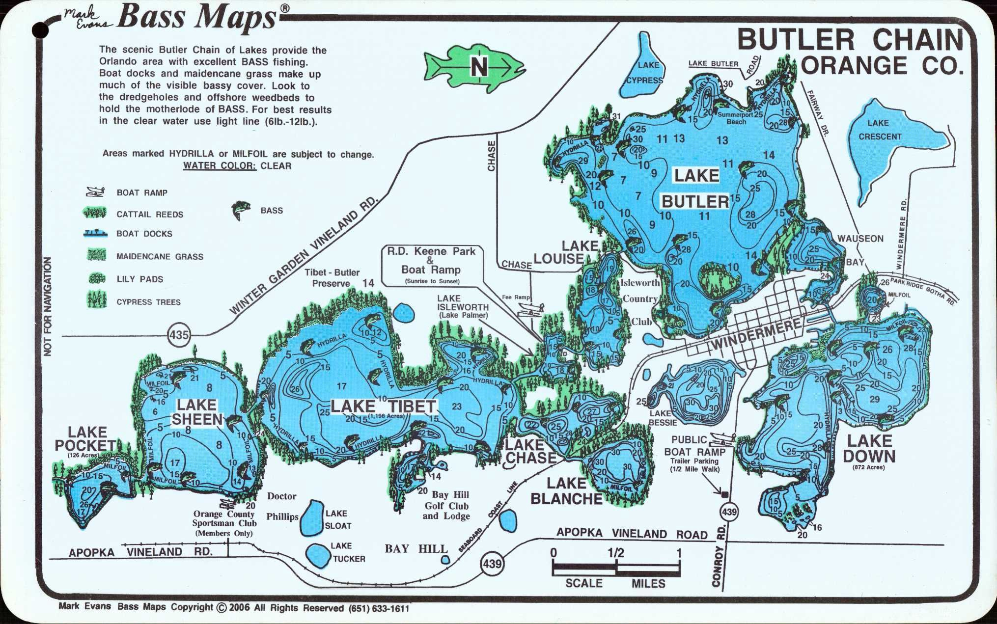 Map of the Butler Chain of Lakes