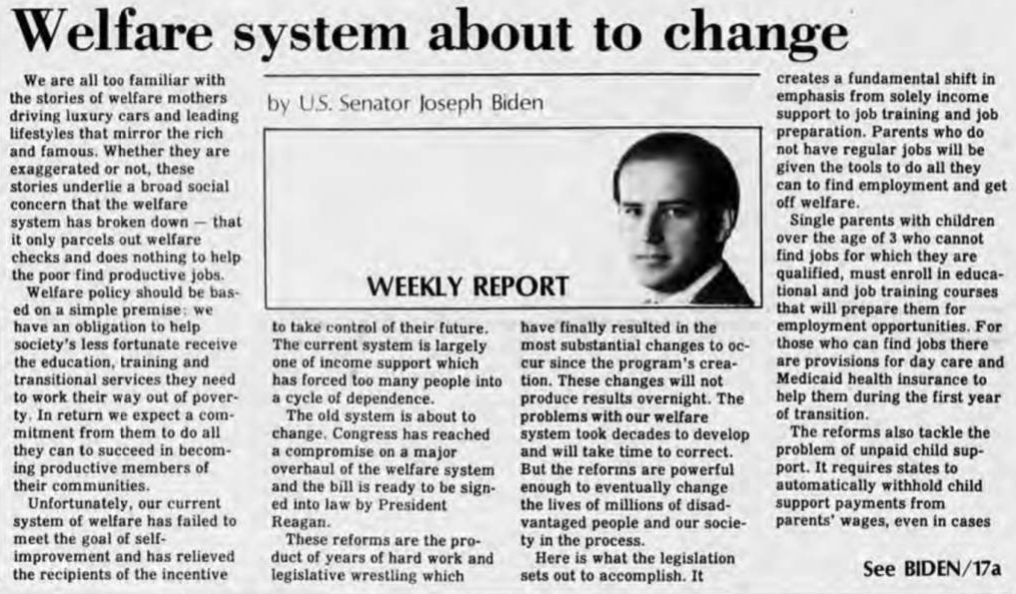 Biden's neo-liberal and racist defense for welfare reform in the Newark Post (1988).