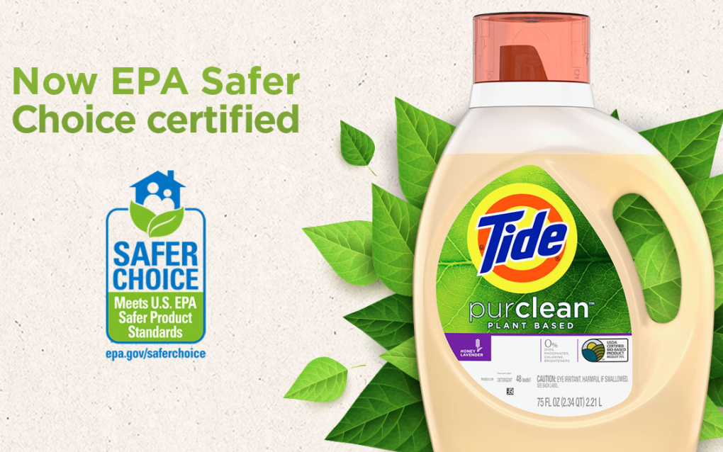 Tide's ad for their purclean line. The product in front of greenery with the text: now EPA certified safer choice certified.
