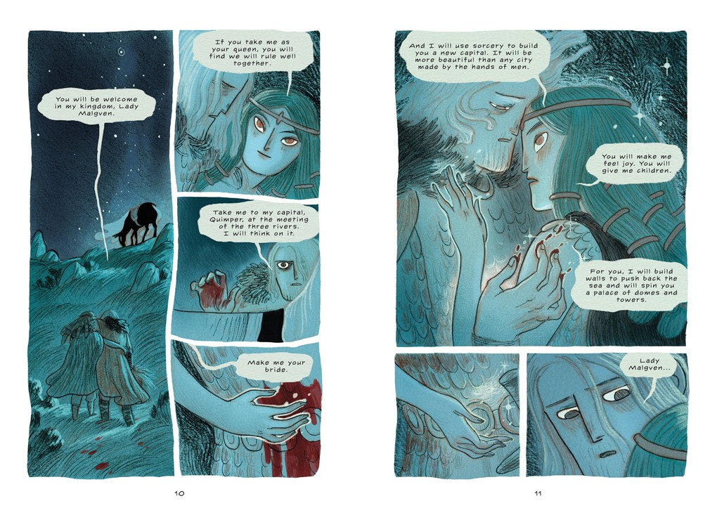 Two-page spread of the Daughters of Ys; depicts King Gradlon and Lady Malgven in conversation.