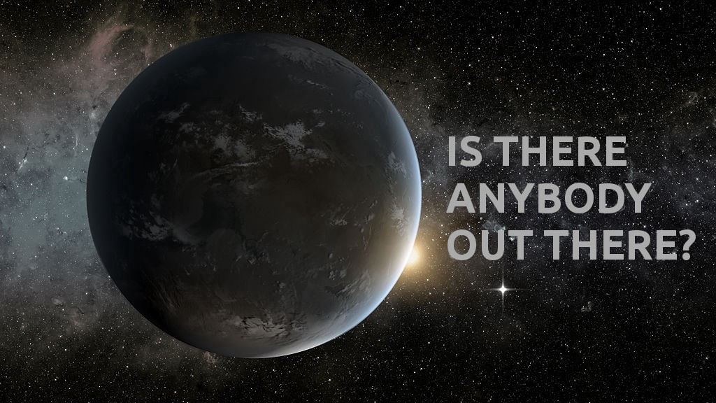 "planet with text, ""Is there anybody out there?"""