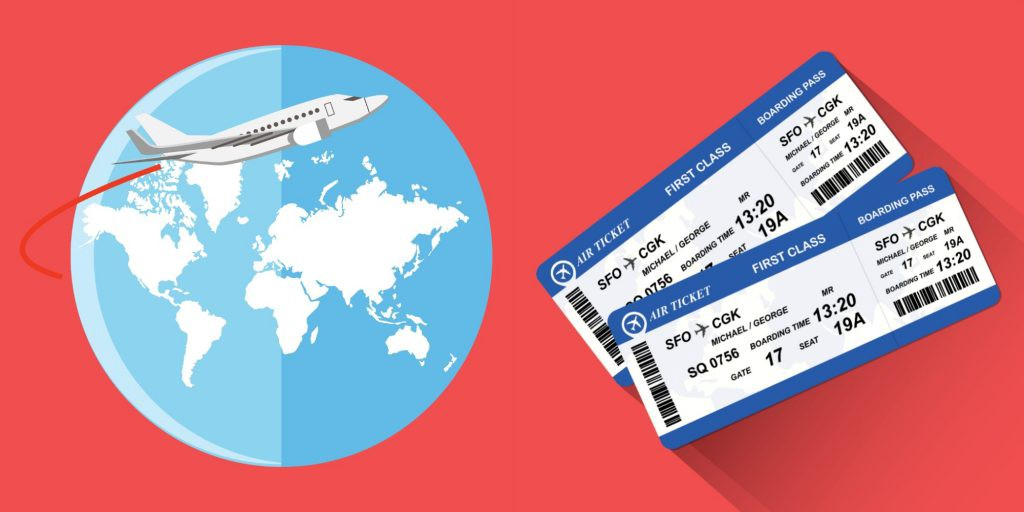 airplane tickets, plane and globe