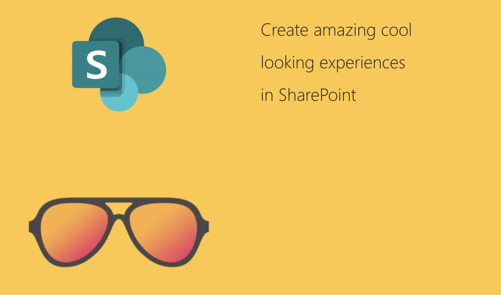 Screenshot taken from a SharePoint Page using the SVG SharePoint logo and transparent png as sun glasses.