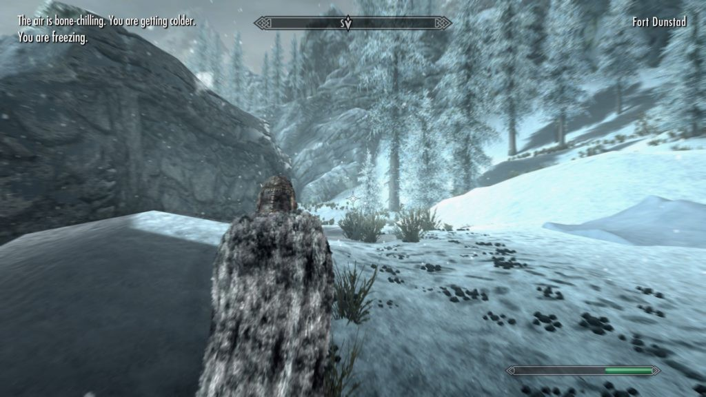 Dragonborn walking through a blizzard with text indicating that she's freezing to death.